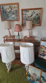 Mid Century Modern Lamps, Paint by number pictures.