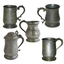 Lot 0048 Five English Pewter Tavern Mugs and Tankards Starting Bid $50