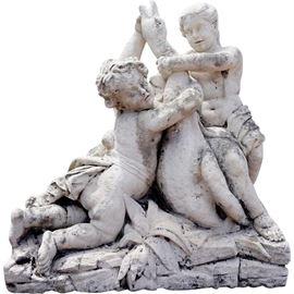 Lot 0097 Large French Limestone Statue, Cherubs Wrestling Goose Starting Bid $2500