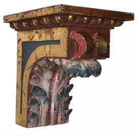 Lot 0149 Spanish Painted Walnut Corbel Architectural Bracket Starting Bid $125