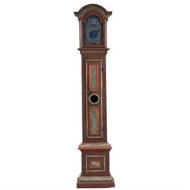 Lot 0159 Danish Painted Pine Pewter Dial Grandfather Clock Starting Bid $150