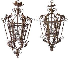 Lot 0184 Pair Spanish/French Iron 3-Light Hanging Lanterns Starting Bid $125