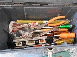 Plastic Tool Box with Assorted Tools