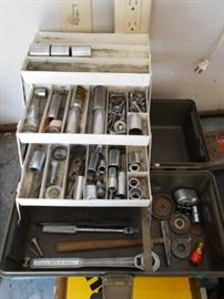 Foldout tool box with tools and more
