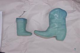 Van Briggle Cowboy Boots Ming Blue Glaze