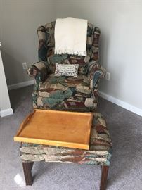 Library Print Wing Back Chair w/Ottoman