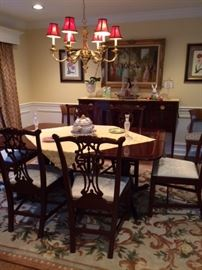 Gorgeous dining room set with inlaid table & sideboard