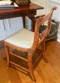 19th century burl maple petit chairs