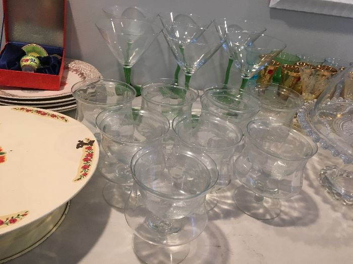 Antique sets of glassware, shrimp cocktail glasses