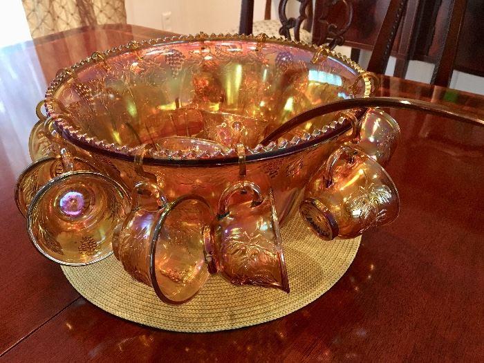 Vintage iridescent Depression Glass punchbowl set