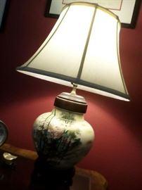 Asian Lamp wood base, silk shade