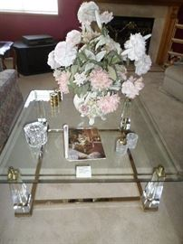 Glass/Brass & Lucite Sq. Cocktail Table as shown in Architectual Digest  SOLD  All other items on table still available