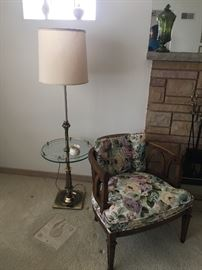 Stiffel lamp, side chairs
