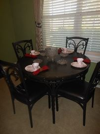 Metal  twist leg dinette set with 4 chairs