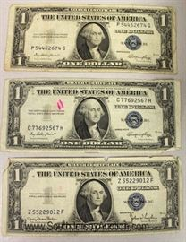 - RARE – (3) 1935 Silver Certificate $1.00 Bills without In God We Trust Located Inside - Auction Estimate $50-$10 each