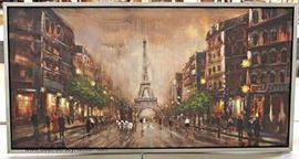 20TH Century Contemporary Oil on Canvas of Eiffel Tower Paris Located Inside - Auction Estimate $50-$100