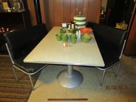 Mid Century restaurant table with 2 benches