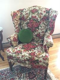 Pair of lovely vintage floral wing back chairs.