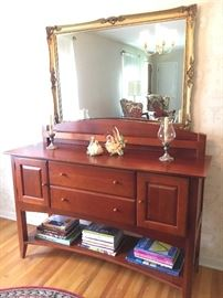 Contemporary Impressions by Thomasville buffet with plate rack--nice! Large beveled glass mirror behind.