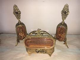 "Stunning ""ormolu"" dresser set--two large perfume bottles and jewelry casket."