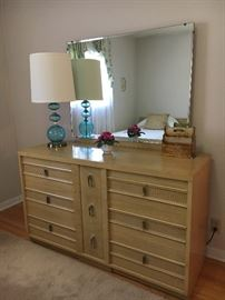 Oh, so 1960s! MCM blonde bedroom group--dresser with plate glass mirror, nightstand and pair of twin beds.