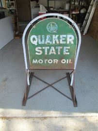 Double sided Quaker State sign w/rack