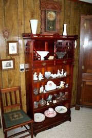 Antique shelf, glassware and collectibles, vintage chair