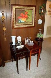 Vintage drop-side end tables, plant stand, glassware and porcelain, antique framed painting