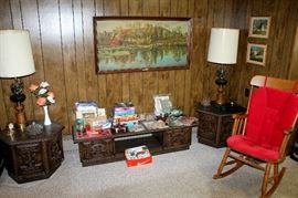 Coffee table and end tables, rocking chair, eagle lamps, artwork