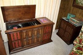 RCA console stereo (works!), matching record cabinet, and vintage records