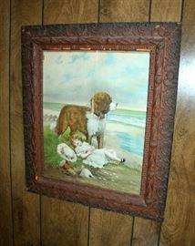 Large antique framed print of dog and girl