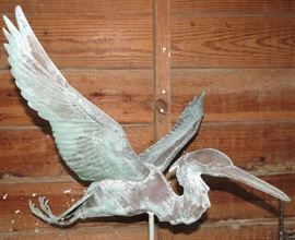 "Incredible Antique Copper Stork Weathervane The original Patina is Fantastic. Measures 48"" Tall and 27"" from Wingtip to Wingtip and 27"" from beak to claws. One of the most Incredible Weathervanes we have ever seen."
