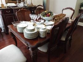 Dining table & eight chairs, china, crystal and more
