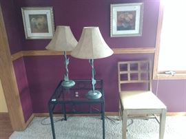 Lamps, table, chair, wall hangings