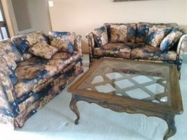 Sofa, loveseat and coffee table