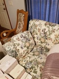 Excellent shape floral Sofa .In front you will see a complete set of Little House on the Prarie,never opened from Ashton Drake