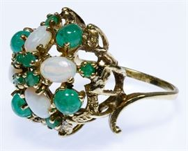 14k Gold Opal and Emerald Ring