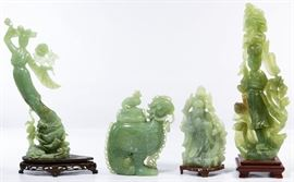 Asian Carved Jadeite Jade Figurine Assortment