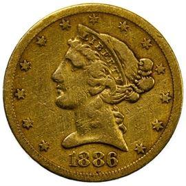 1886 S 5 Gold VF