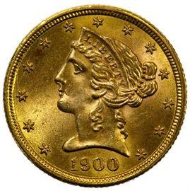 1900 5 Gold Unc.