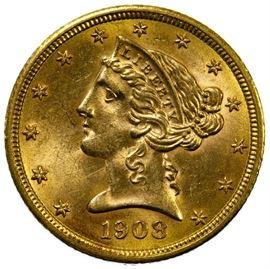 1908 5 Gold Unc.