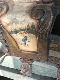 Beautiful folk art painted on antique sleigh