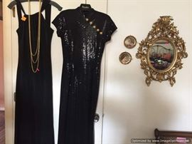 St. John evening dress, small ornate gilt mirror