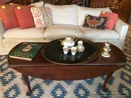 White down filled sofa, Dropleaf coffee table, dhurri ballroom size rug