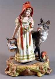 Antique Bisque German Figurine Little Red Riding Hood and Big Bad Wolf     https://www.ctbids.com/#!/description/share/15404