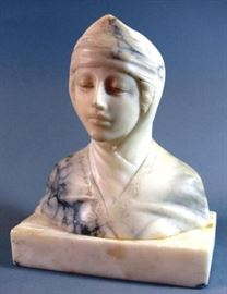 Antique Italian Marble Alabaster Stone Portrait Bust Statue of a Young Girl Noble Woman     https://www.ctbids.com/#!/description/share/15406