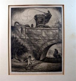 "Fine Vintage 1937 A.z. Kruse Etching ""The Three Carriers"" Pencil Signed and Personally Inscribed by Arti      https://www.ctbids.com/#!/description/share/15452"