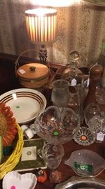 Longenberger baskets, candy dishes, decanter, miscellaneous glassware, Warsaw cut glass