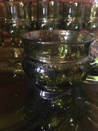 Green Kings crown glass, snack sets