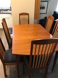 Custom Crafted Maple Wood Table and Chairs